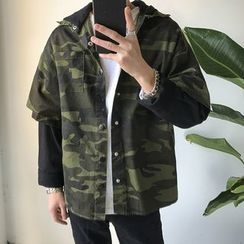 Arthur Look - Camouflage Mock Two-Piece Hooded Jacket