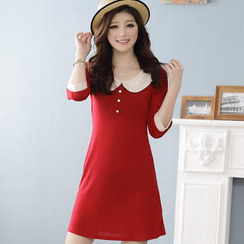 JK2 Lace-Collar Elbow-Sleeve Dress