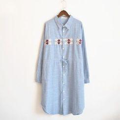 Waypoints - Linen Cotton Embroidered Shirtdress