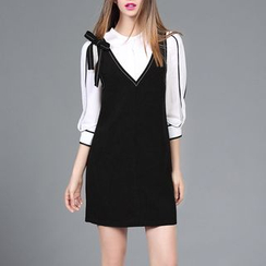 Rosesong - Set: Contrast Trim 3/4 Sleeve Blouse + Bow Accent Pinafore Dress