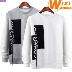 WIZIKOREA - Printed Zip-Detail Sweatshirt