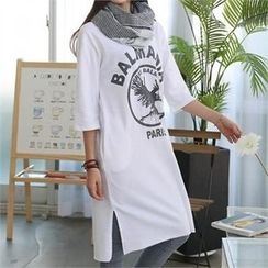 CHICFOX - Elbow-Sleeve Lettering T-Shirt Dress
