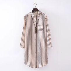 Waypoints - Pinstripe Long-Sleeve Shirtdress