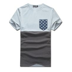 MR.PARK - Short-Sleeve Contrast-Color T-Shirt