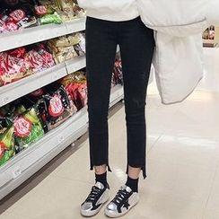 Seoul Fashion - Asymmetric-Hem Skinny Jeans