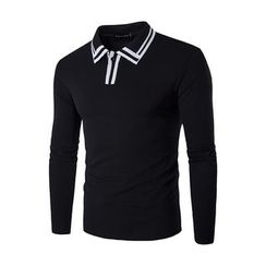Fireon - Contrast Trim Long Sleeve Polo Shirt