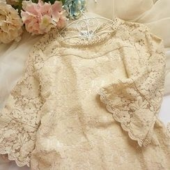 Cobblestone - Elbow-Sleeve Lace Top