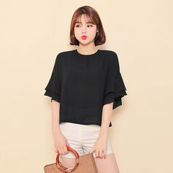 HOTPING - Round-Neck Frilled-Sleeve Top