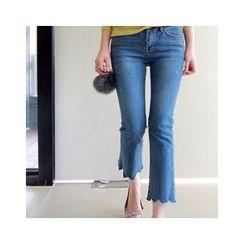 LEELIN - Scallop-Hem Boot-Cut Jeans