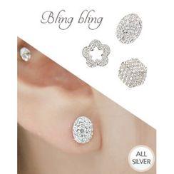 Miss21 Korea - Full-Rhinestone Silver Stud Earrings (3 Designs)
