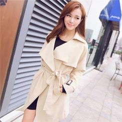 Mayi Ayamo - Open-Front Belted Trench Coat