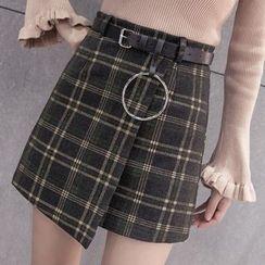 lilygirl - Plaid Knit Skirt
