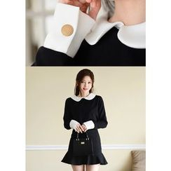 DEEPNY - Contrast-Collar Ruffled Mini Dress