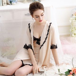 Charming Lover - Set: Elbow-Sleeve Robe + Lace Trim Sleepdress