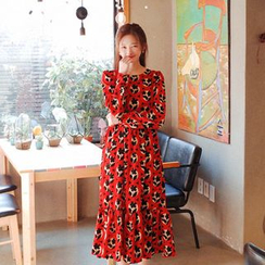 Cherryville - Ruffle-Hem Patterned Long Dress