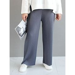STYLEBYYAM - Band-Waist Pleated Wide-Leg Pants