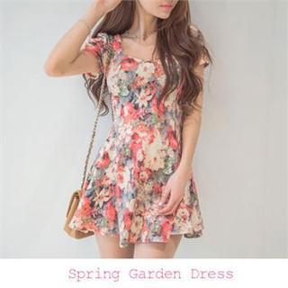 ERANZI - Floral Print A-Line Dress