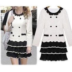 GRACI - 雪紡蕾絲長袖連衣裙