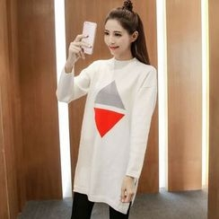 lilygirl - Colour Block Long Knit Top