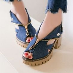 Sidewalk - Chunky heel Denim Sandals