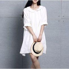 Clover Dream - Long-Sleeve Collared A-Line Dress