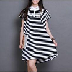 Clover Dream - Short-Sleeve Striped A-line Dress