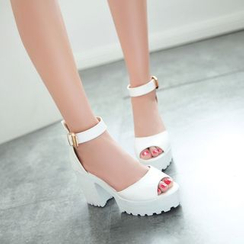 Shoes Galore - Ankle Strap Block Heel Sandals