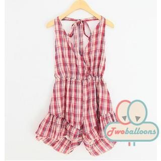 JVL - Plaid Halter Playsuit