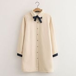 Nycto - Bow Neck Long Blouse