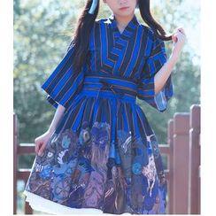 GOGO Girl - 七分袖条纹上衣 / 打褶裥裙 / 腰带