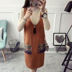 Qimi - Knit V-neck Jumper Dress