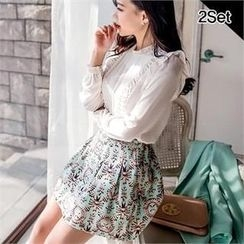 SUVINSHOP - Set: Frilled Long-Sleeve Top + Patterned A-Lien Skirt