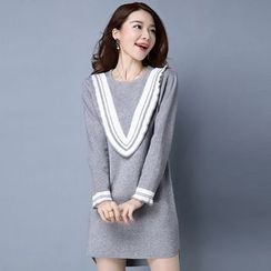 Romantica - Paneled Long Knit Top