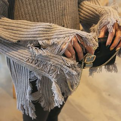 DABAGIRL - Mock-Neck Distressed Rib-Knit Sweater
