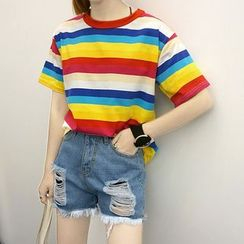 MePanda - Short-Sleeve Rainbow Striped T-Shirt
