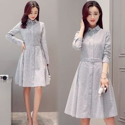 Mandalle - Long-Sleeve A-Line Skirt Dress