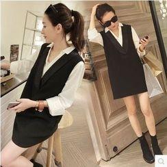 VIZZI - 套裝: 長袖襯衫 + V領無袖連衣裙