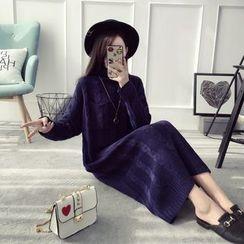 Qimi - Turtleneck Cable Knit Dress