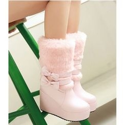 Freesia - Bow Platform Wedge Short Boots