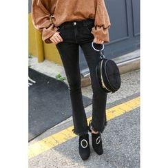 PPGIRL - Fringed-Hem Boots-Cut Jeans