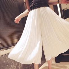 Oaksa - Cropped Wide Leg Pleated Pants