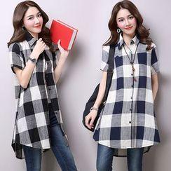 Yeeya - Gingham Short-Sleeve Long Shirt