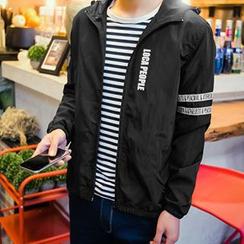 Hissse - Lettering Hooded Windbreaker / Zip Jacket