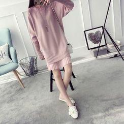 Qimi - Mock Neck-Piece Knit Dress