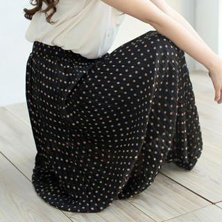 Tokyo Fashion - Elastic-Waist Dotted Maxi Skirt