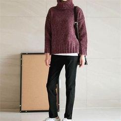 YOOM - Turtle-Neck Dip-Back Knit Top