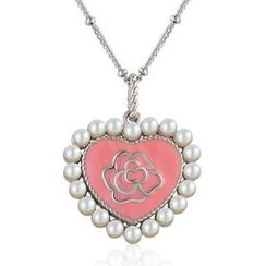 MBLife.com - Left Right Accessory - 925 Silver Pink Rose Enamel Heart with Freshwater Pearl Long Necklace (29')