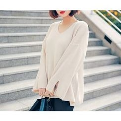 HOTPING - Slit-Sleeve Loose-Fit Knit Top