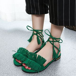 Zandy Shoes - Fringed Lace-Up Flat Sandals