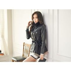 UUZONE - Faux-Leather Tied-Waist Jacket